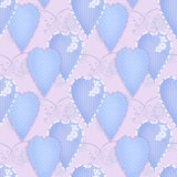 Patchwork design seamless pattern with hearts and elements backg Stock Image