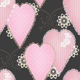 Patchwork design seamless pattern with hearts and elements backg Royalty Free Stock Photo