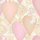 Patchwork design seamless pattern with hearts and elements Royalty Free Stock Photography