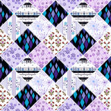 Patchwork design seamless pattern ornament pink background Stock Photos