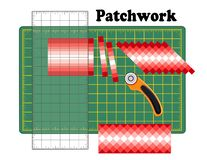 Patchwork DIY, Cutting Mat, Quilters Ruler, Rotary Blade Cutter, Traditional Strip Piece Design Pattern royalty free illustration