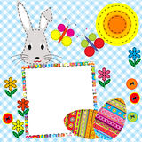 Patchwork Easter card with eggs and rabbit vector illustration