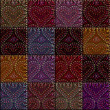 Patchwork with embroidery of hearts Royalty Free Stock Photos