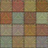 Patchwork with embroidery of hearts Royalty Free Stock Photo