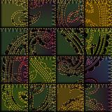 Patchwork with embroidery of paisley ornament Stock Photo