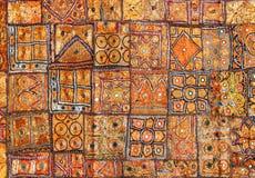 Patchwork för Indien tygbakgrund Arkivbild