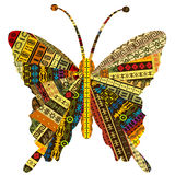 Patchwork fabric with butterfly Royalty Free Stock Images