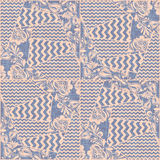 Patchwork fabric textile seamless pattern vector. Chevron elements and russian traditional decoration in hohloma style on burlap texture. Zigzag and khokhloma Royalty Free Stock Image
