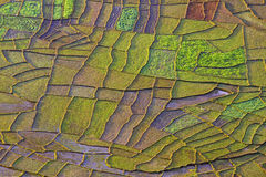 Patchwork fields. Aerial photo of patchwork fields taken from the village of Astam in the Himalayas stock image