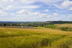 Patchwork fields and rolling hillsides in summertime Stock Photography