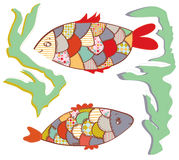 Patchwork fishes  in the water funny Royalty Free Stock Image