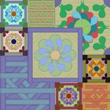 Patchwork floral lumineux multicolore illustration stock