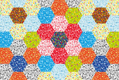 Patchwork floral ornaments. Vector patchwork floral ornaments composed of hexagons stock illustration