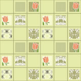 Patchwork floral roses pattern background with decorative elemen Stock Image