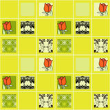Patchwork floral roses pattern background with decorative elemen Royalty Free Stock Photos