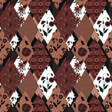 Patchwork floral seamless pattern brown texture background Royalty Free Stock Image
