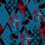 Patchwork floral seamless pattern texture dark black background. Patchwork floral seamless pattern texture black background with ornament Stock Photo
