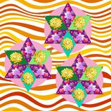 Patchwork floral stars on wavy seamless background.  Royalty Free Stock Photos
