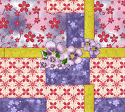 Patchwork and flower applique Royalty Free Stock Image