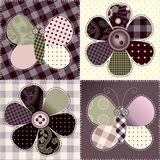 Patchwork with flowers and butterfy Royalty Free Stock Photos