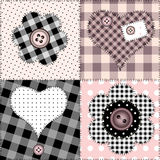 Patchwork with flowers and hearts Royalty Free Stock Image