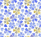 Patchwork flowers. Watercolor seamless pattern. Royalty Free Stock Images