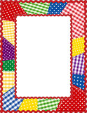Patchwork Frame, Brights. Bright colored gingham & polka dot patchwork in a vertical rick rack frame. Copy space to add your favorite picture for albums and Royalty Free Stock Image