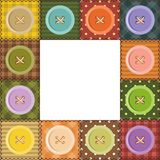 Patchwork frame with buttons Stock Photography