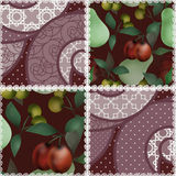 Patchwork fruit pattern with plum and cherry background Stock Photos