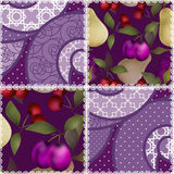 Patchwork fruit pattern with plum and cherry background Stock Image
