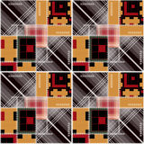 Patchwork geometric abstract bright elements seamless pattern ba Royalty Free Stock Photography