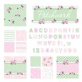 Patchwork girly decorative elements big set. Shabby chic textile font and seamless pattern collection. Different fabric pieces col. Lage, decorated with lace and Stock Photo