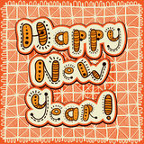 Patchwork greeting card Happy New Year Stock Images