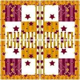 Patchwork gwiazd wzoru bezszwowy jaskrawy retro w kratkę backgrou Obraz Royalty Free