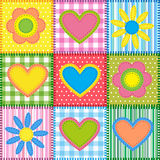 Patchwork with hearts. And flowers.  Vector seamless background Stock Image