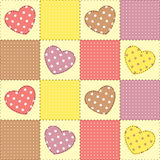 Patchwork with hearts Stock Photography