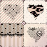 Patchwork with hearts Royalty Free Stock Photography