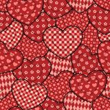 Patchwork hearts seamless beautiful pattern. Patchwork red hearts seamless pattern. Holiday background Royalty Free Stock Photography