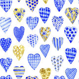 Patchwork hearts. Watercolor seamless pattern. Stock Images