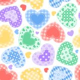 Patchwork hearts on the white. Patchwork hearts. Semless pattern. Scrapbooking series. Background Royalty Free Stock Images