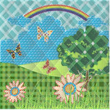 Patchwork with hills flowers butterfly and tree Royalty Free Stock Photos