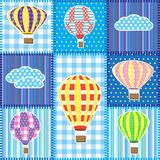 Patchwork with hot air balloons vector illustration