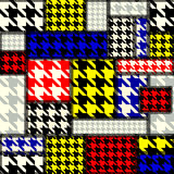 Patchwork with houndstooth pattern in retro style Stock Photo