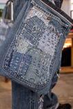 Patchwork. Jeans denim texture patchwork bag fashion Royalty Free Stock Photos