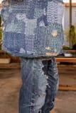 Patchwork. Jeans denim texture patchwork bag fashion Stock Photography