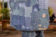 Patchwork. Jeans denim texture patchwork bag fashion Royalty Free Stock Photo