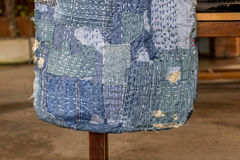 Patchwork. Jeans denim texture patchwork bag fashion Stock Photo