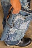 Patchwork. Jeans denim texture patchwork bag fashion Stock Images