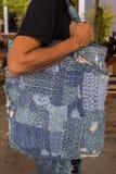Patchwork. Jeans denim texture patchwork bag fashion Stock Image