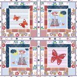 Patchwork for kids with butterflies and cats Stock Photography